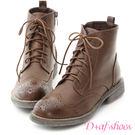 靴子 D+AF 英倫風潮.復古雕花綁帶牛津短靴*棕