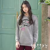 betty's貝蒂思 內刷毛螺纹繡線T-shirt(灰色)