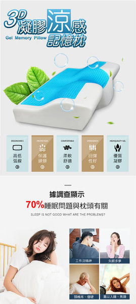 【免運費 實測降3度 涼感枕頭 太空棉】涼感記憶枕 3D清涼 枕頭 記憶枕 凝膠枕 太空枕 乳膠枕