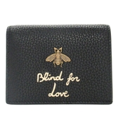 GUCCI 古馳 黑色牛皮復古金蜜蜂對折短夾 Animalier Card Case Wallet 【BRAND OFF】