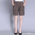 休閒短褲 女裝夏裝新款全棉寬鬆短褲時尚中年媽媽鬆緊高腰大碼五分褲 618購物節
