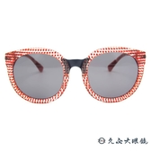 Kaffeine 咖啡因 Ice Mocha C4 (透紅方格) 韓國設計 摩登圓框 太陽眼鏡 久必大眼鏡