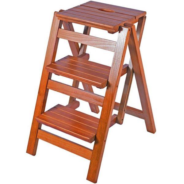 實木家用多功能折疊梯子三步梯椅梯凳室內登高梯木梯子置物架 卡米優品