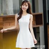 小黑裙2021夏季新款韓版修身顯瘦無袖背心打底短裙雪紡洋裝女裝連身裙