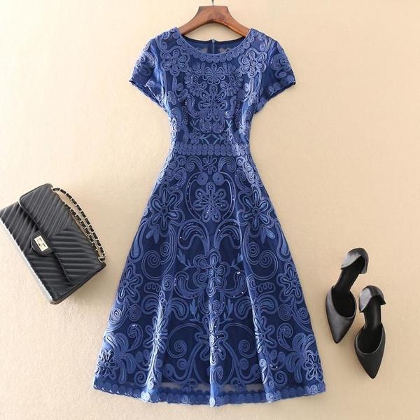 優雅端莊大氣修身收腰媽媽裝大碼裙子顯瘦高端歐美網紗洋裝夏新 幸福第一站