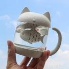 貓爪杯 貓爪杯 卡通過濾杯 可愛貓咪玻璃杯抖音網紅貓抓水杯超萌女泡茶杯 韓菲兒