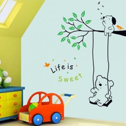 壁貼 DIY創意無痕 牆貼 貼紙【半島良品】-小熊盪鞦韆_AY9036