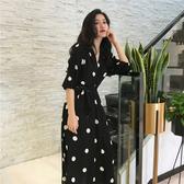 法式V領系帶波點雪紡桔梗裙子女夏季新款氣質顯瘦黑色連身裙