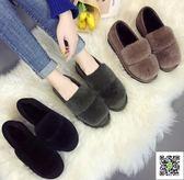 豆豆鞋 毛毛鞋女秋冬外穿加絨新款平底孕婦瓢鞋社會豆豆鞋女保暖棉鞋 玫瑰女孩