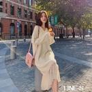秋冬款超仙森系過膝長裙子百搭韓版純色針織毛衣洋裝女寬松顯瘦