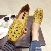 歐美風時尚新款女鞋子大碼包頭方頭平跟平底女涼鞋 伊莎公主