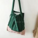 韓國拼接撞色可折疊針織單肩側背包風琴環保購物袋【聚可愛】