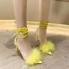 大碼高跟鞋毛毛鞋女性感魚嘴綁帶涼鞋走秀夜店風高跟鞋超大碼434445 快速出貨