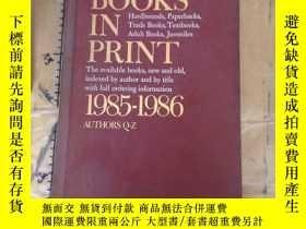 二手書博民逛書店Books罕見in Print: 1985-1986: Auth