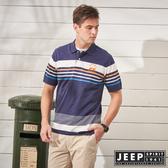 【JEEP】清新陽光短袖POLO衫-藍
