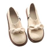 秋冬季新款日系女蝴蝶結平底單鞋深口森女瑪麗珍鞋復古娃娃鞋 米希美衣