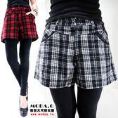*MoDa.Q中大尺碼*【J3068F】秋冬必備假兩件格紋造型短褲內搭褲