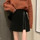 毛呢短裙 秋季黑色短裙新款時尚不規則毛呢半身裙女學生高腰A字裙子-Ballet朵朵