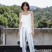 設計白色無袖吊帶背心女夏外穿不對稱雪紡上衣艾美時尚衣櫥