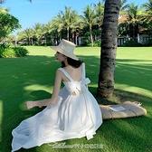 泰國三亞海邊度假沙灘裙女夏超仙旅遊衣服吊帶長裙白色露背連身裙 阿卡娜
