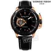 GIORGIO FEDON 1919 / GFBG003 / 自動兼手動上鍊 藍寶石塗層玻璃 精工機芯 機械錶 真皮手錶 黑色 46mm
