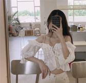 夏裝新款港味復古chic甜美吊帶一字露肩上衣女短袖蕾絲襯衫潮