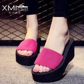 夏季新款時尚韓版厚底坡跟一字拖鞋女防滑平底沙灘高跟涼拖鞋 時尚芭莎