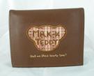【震撼精品百貨】MILK TEDDY _泰迪熊 ~ 皮製短夾『咖啡-頭紅格紋』