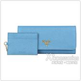 PRADA金字LOGO防刮牛皮10卡扣式長夾(天藍/附卡夾)