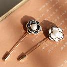 簡約文藝淡水珍珠花朵一字插針式胸針/設計...