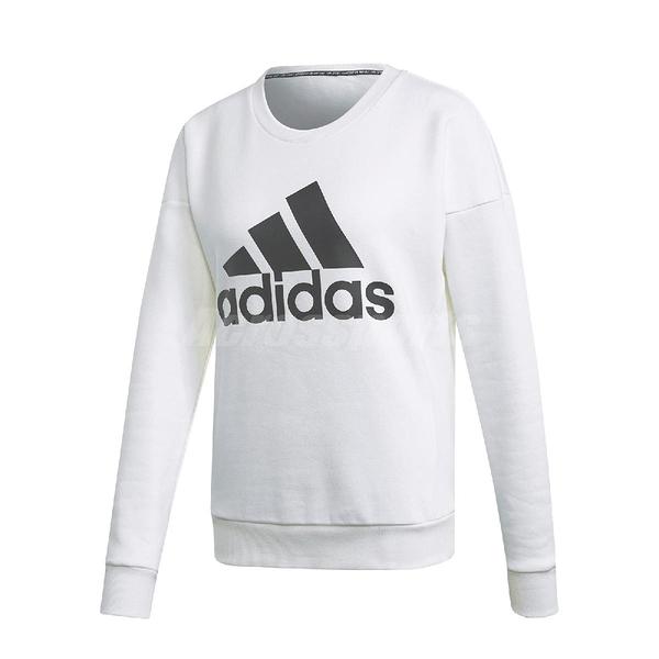 adidas 長袖T恤 MH BOS Sweatshirt 白 黑 女款 運動休閒 【ACS】 DX7965