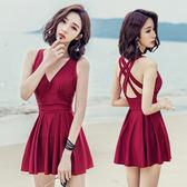 【雙11】連體裙式泳衣女性感韓國大碼泡溫泉游泳衣折300