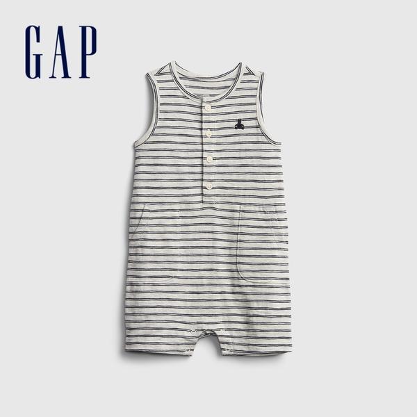 Gap嬰兒 純棉無袖圓領包屁衣 670582-灰色條紋