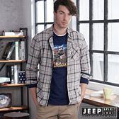 【JEEP】經典古著風格紋長袖襯衫(米白藍)