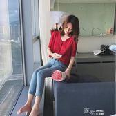 GG紅色波點襯衫女夏季新款復古小心機短袖寬鬆V領漏鎖骨上衣 道禾生活館