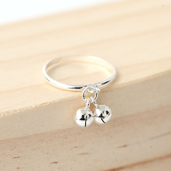 925純銀戒指 可愛雙鈴噹戒 抗過敏材質【NPC39】禮物首選