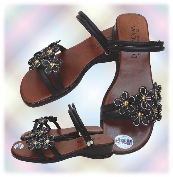 【波克貓哈日網】超舒適兩穿鞋◇低跟涼鞋◇《黑色小花》~日本製