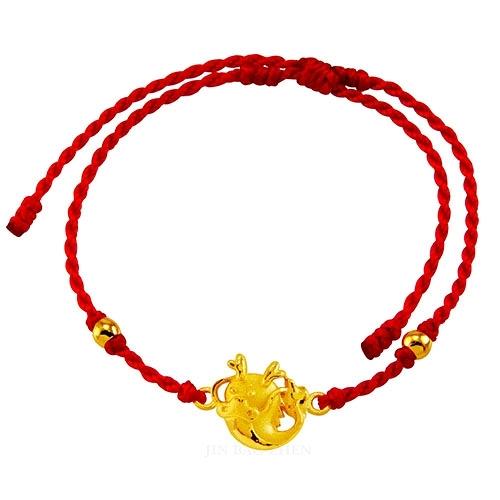 甜蜜約定金飾-好運12生肖-龍-紅繩黃金手鍊