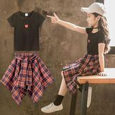 女童套裝裙洋氣韓范短袖時髦衣服【聚寶屋】