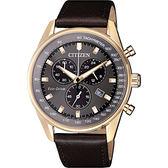 【送米奇電扇】CITIZEN 星辰 限量光動能計時手錶-灰x玫瑰金框/40mm AT2393-17H