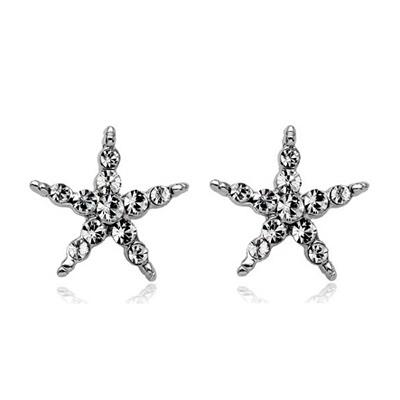 耳環 925純銀鑲鑽-氣質五角星生日情人節禮物女耳針73gt11【時尚巴黎】