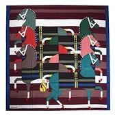 HERMES Rocabar馬匹圖羊毛混絲披肩圍巾140cm(酒紅色)370046