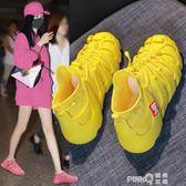 飛織運動鞋女透氣網鞋女鞋2019夏新款小白鞋子網面輕便軟底跑步鞋  (PINKQ)