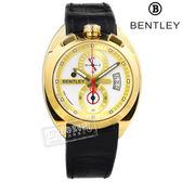 BENTLEY 賓利 / BL1682-10471 / 藍寶石水晶玻璃 計時 日期 日本機芯 德國製造 真皮手錶 銀x金框x黑 43mm