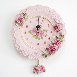 歐式田園典雅樹脂絲帶紫玫瑰浮雕掛鐘家居牆面裝飾靜音掛表 -tax001