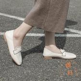 小皮鞋英倫風女鞋軟皮一腳蹬樂福鞋【橘社小鎮】