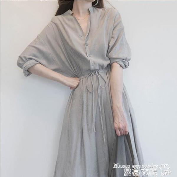 大碼洋裝 胖妹妹春夏季氣質襯衫連身裙大碼洋氣減齡復古超仙長裙顯瘦雪紡裙 新品