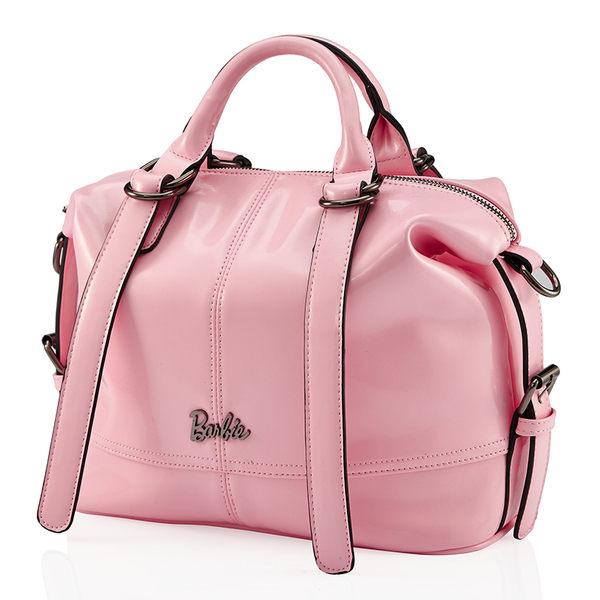 芭比典雅系列 時尚拼接亮皮斜挎單肩手提包