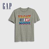 Gap 男童 棉質舒適圓領短袖T恤 541073-亮麻灰色