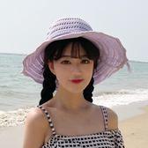 海灘帽 手工編織夏季出游沙灘防曬太陽帽草帽潮韓版大檐蝴蝶結盆帽漁夫帽 芭蕾朵朵